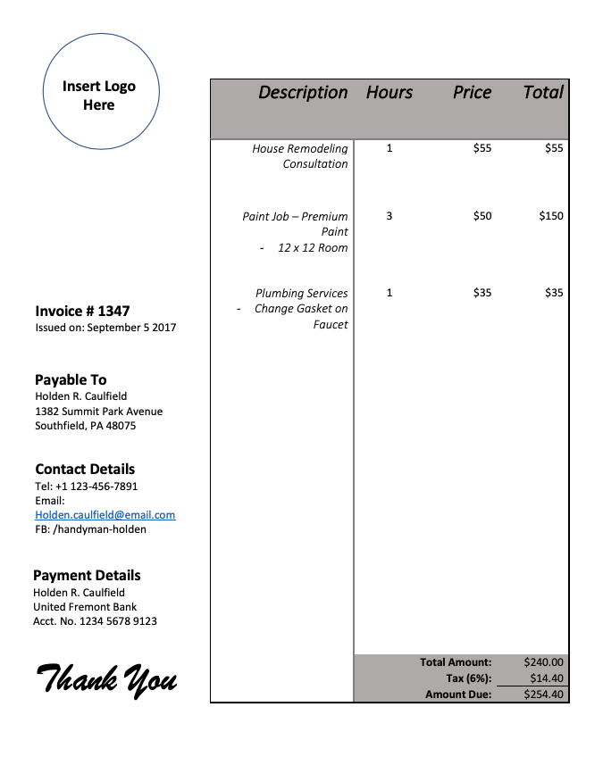 Invoice template 4 - Sample
