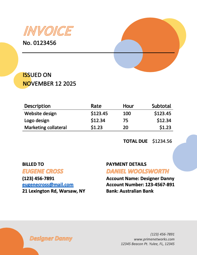 Invoice template 2 - Sample