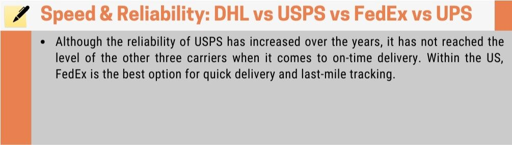 Speed and reliablity of different shipping companies