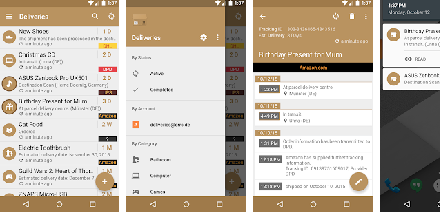 Deliveries android app