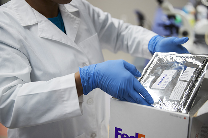 An individual in white coat is packing a shipment which requires temperature control in a Fedex Box