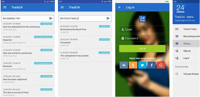 Track24 Android app