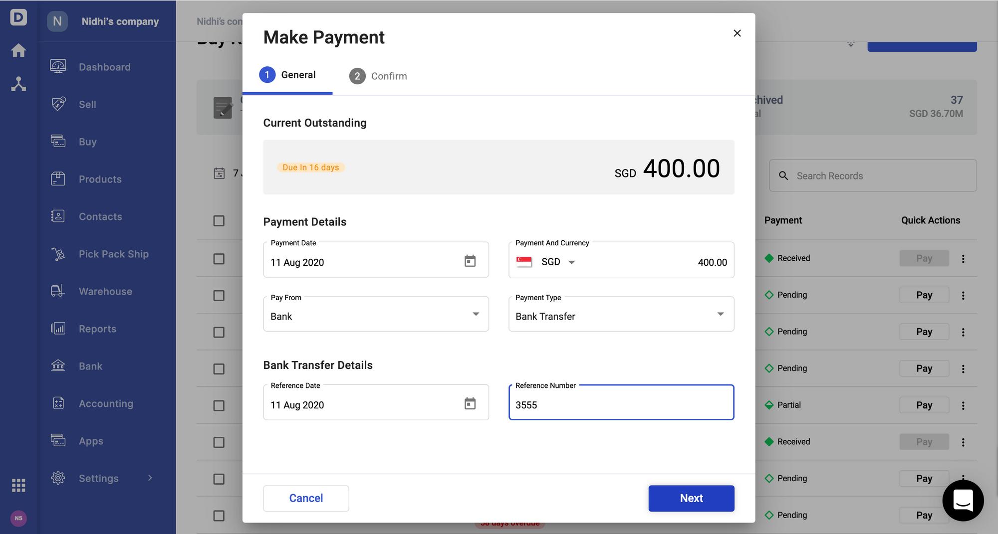 Deskera Books- Make Payment