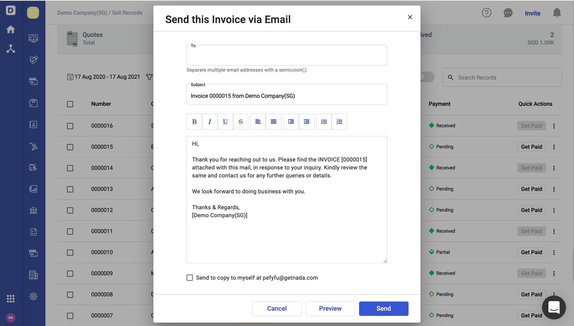 Deskera Books- Send Invoice via Email