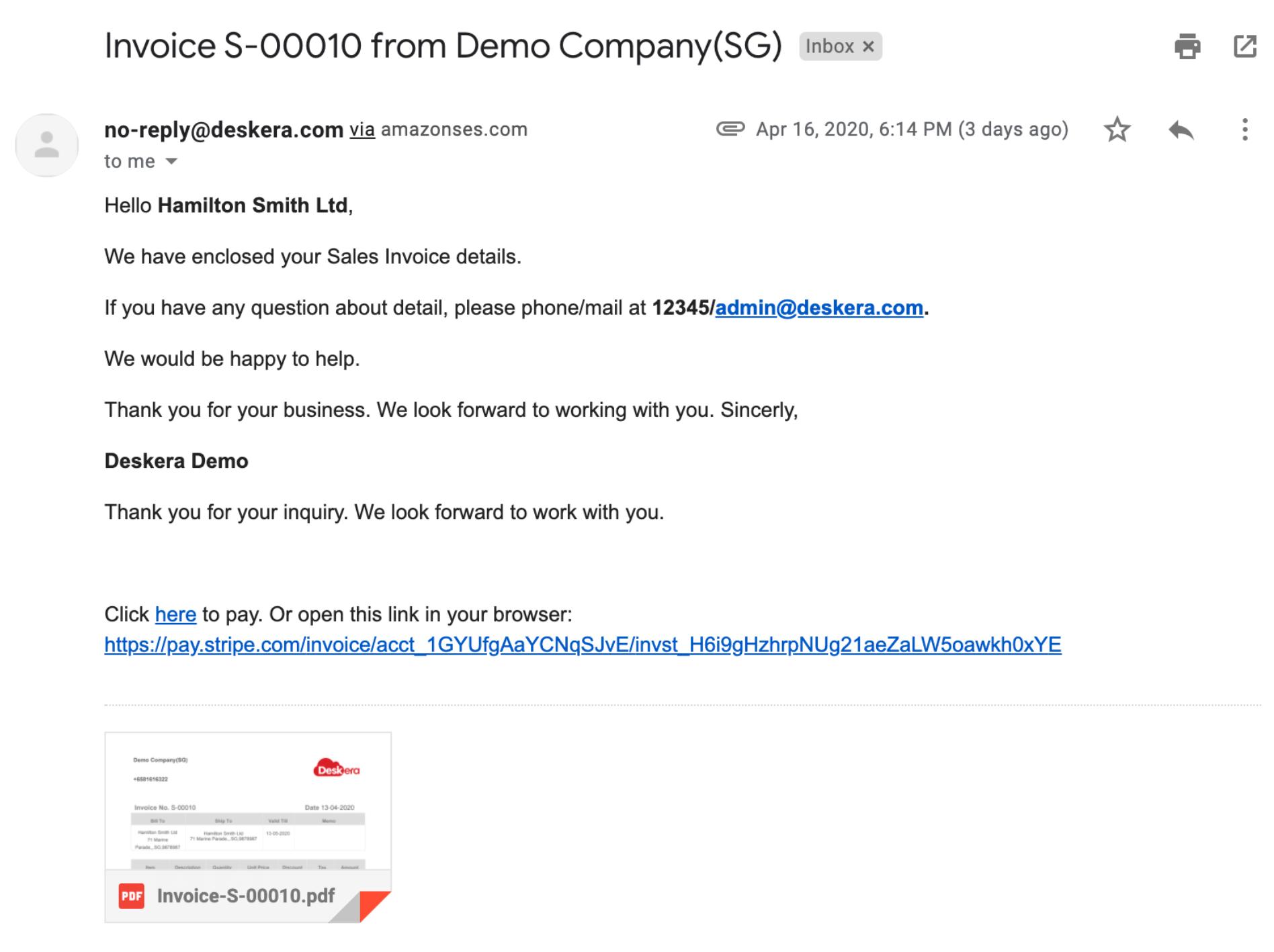 Deskera Books- Invoice Email
