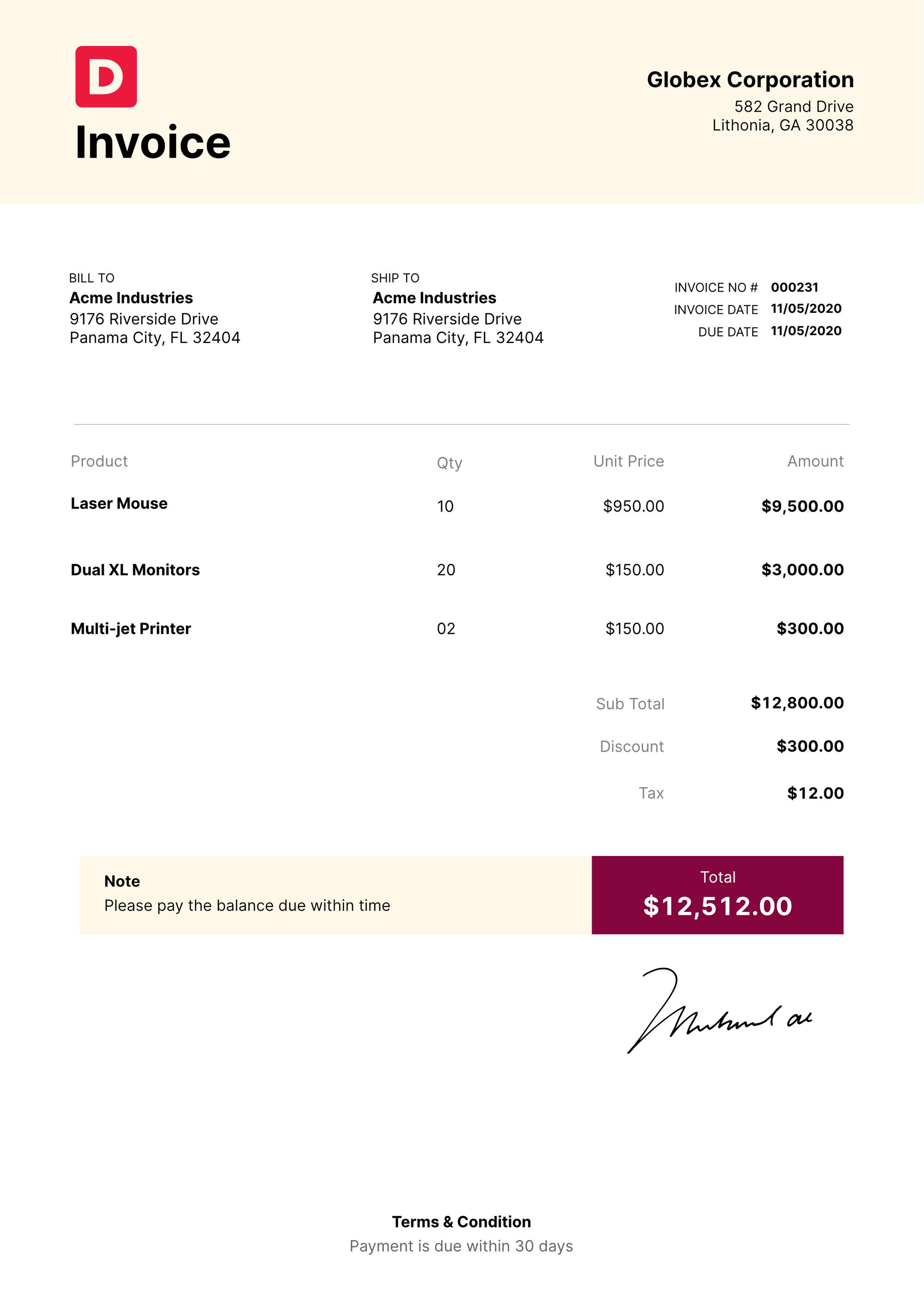 Standard Sales Invoice