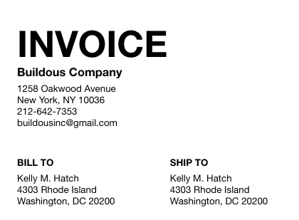 Client's Contact Information on an Invoice