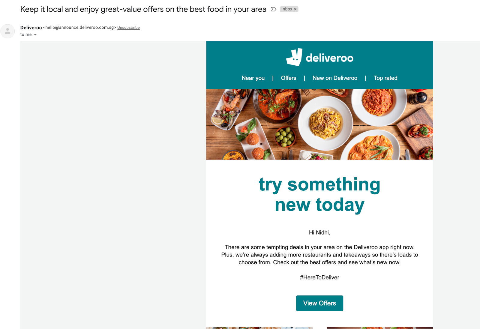 Email marketing campaign example by Deliveroo