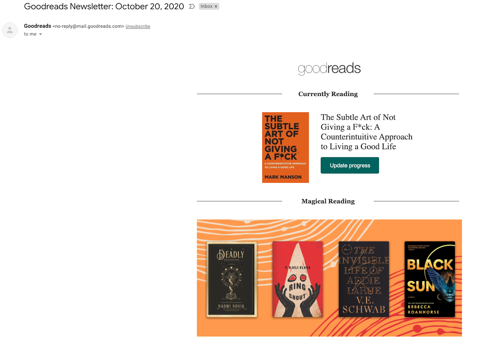 Email marketing campaign example by Goodreads