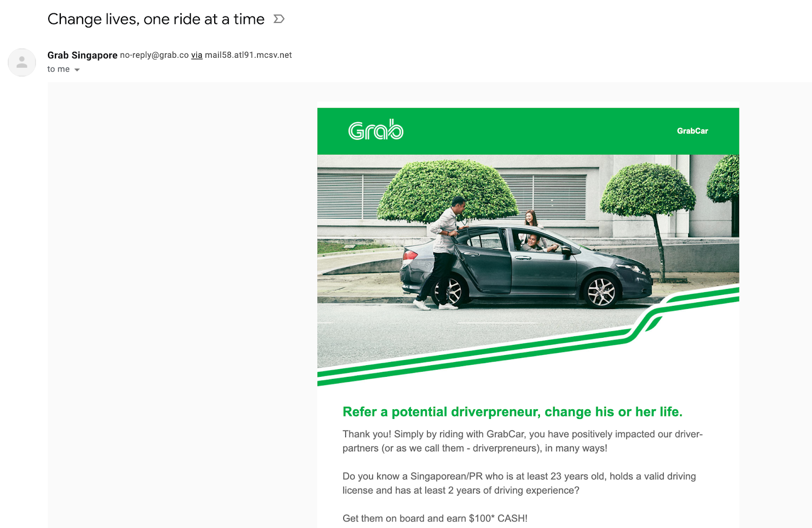 Email marketing campaign example by Grab