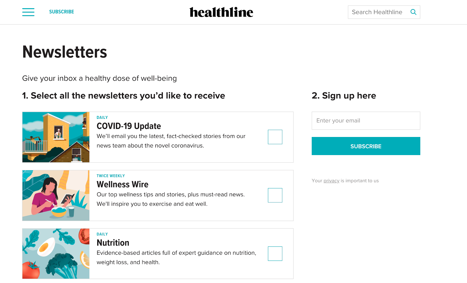Example of free newsletter sign up form from Healthline website