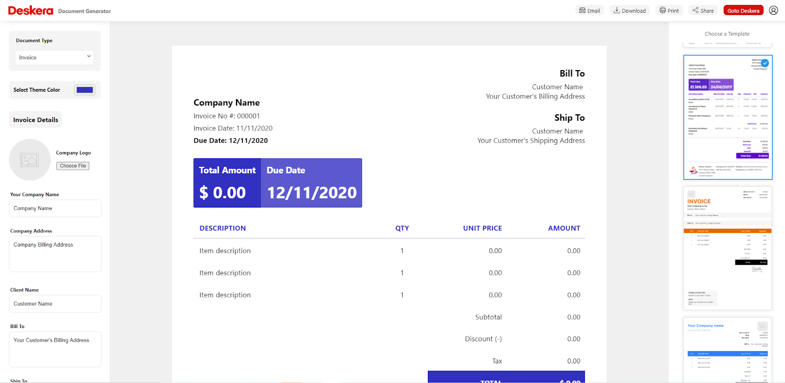 Custom Invoice Templates in Deskera - Accounting Software Advantages