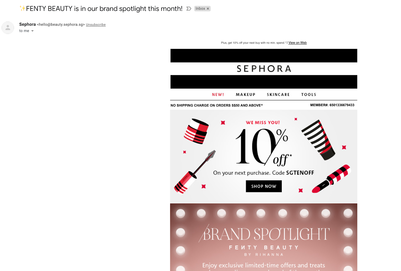 Email marketing campaign example by Sephora to promote their brand
