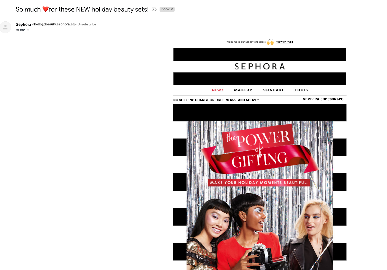 Email marketing campaign example by Sephora