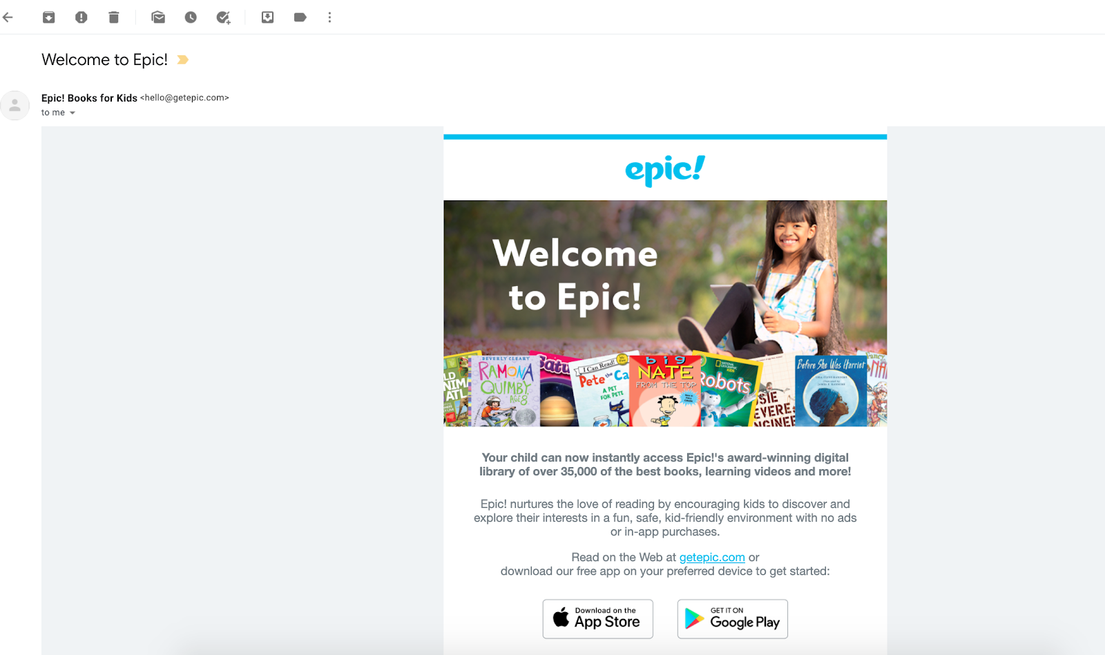 Example of marketing email created to welcome new users