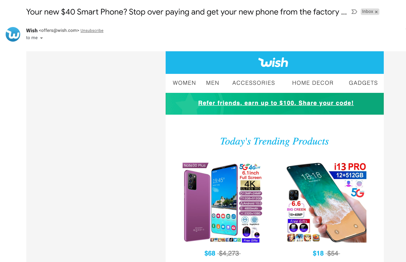 Email marketing campaign example by Wish