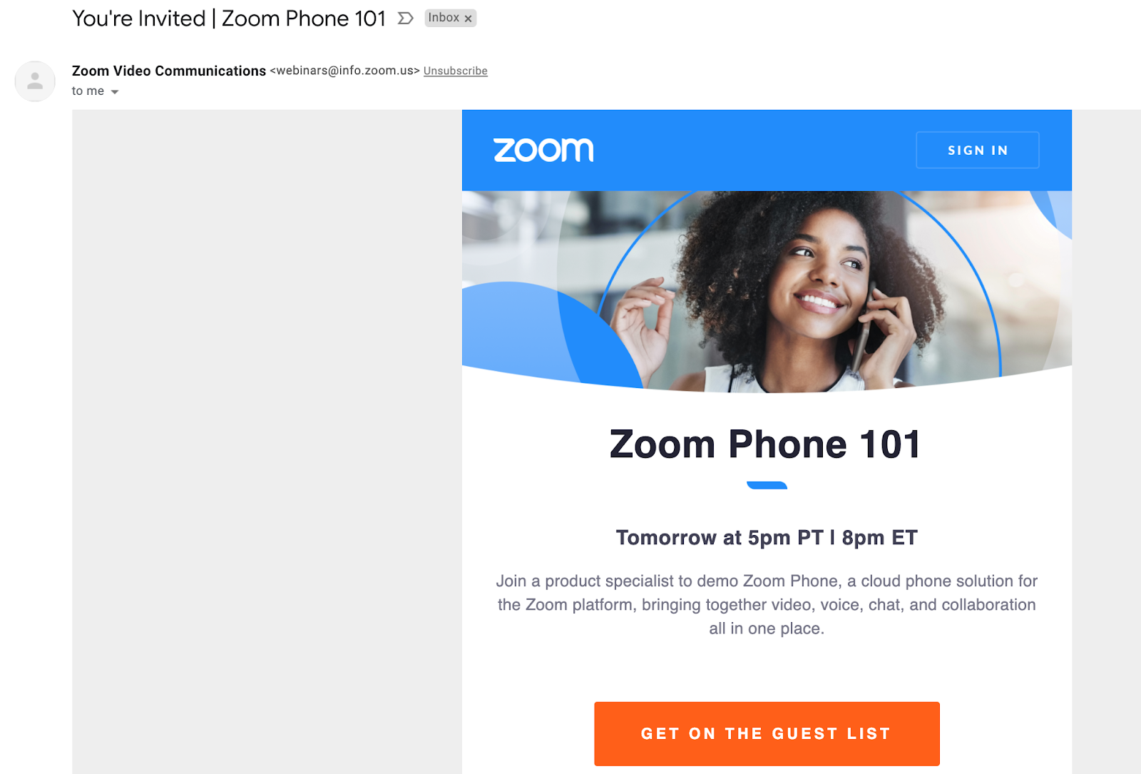Email marketing campaign example by Zoom