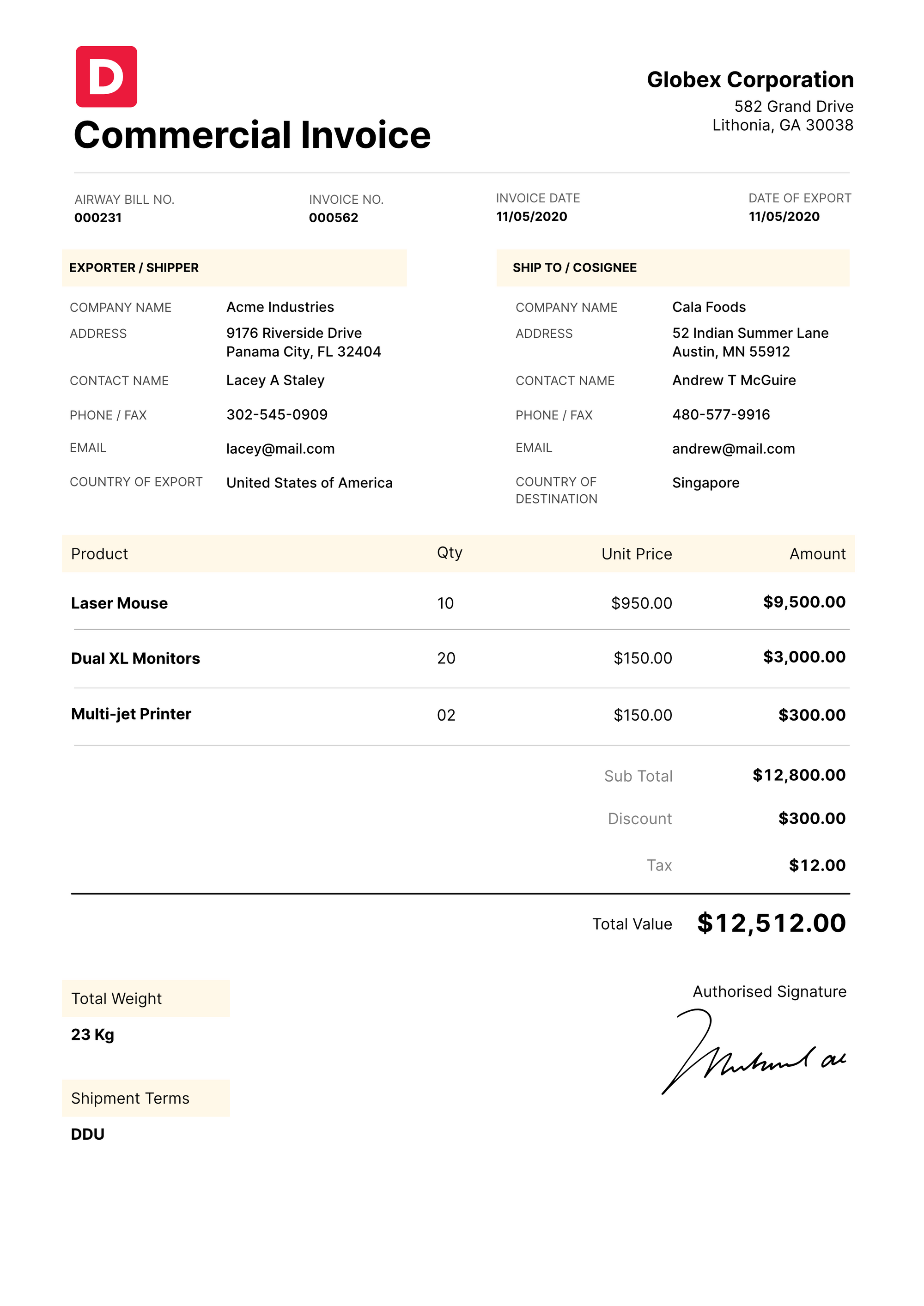 Commercial Invoice Type Example