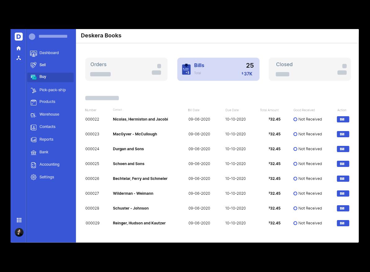 Deskera Invoice Management System Dashboard