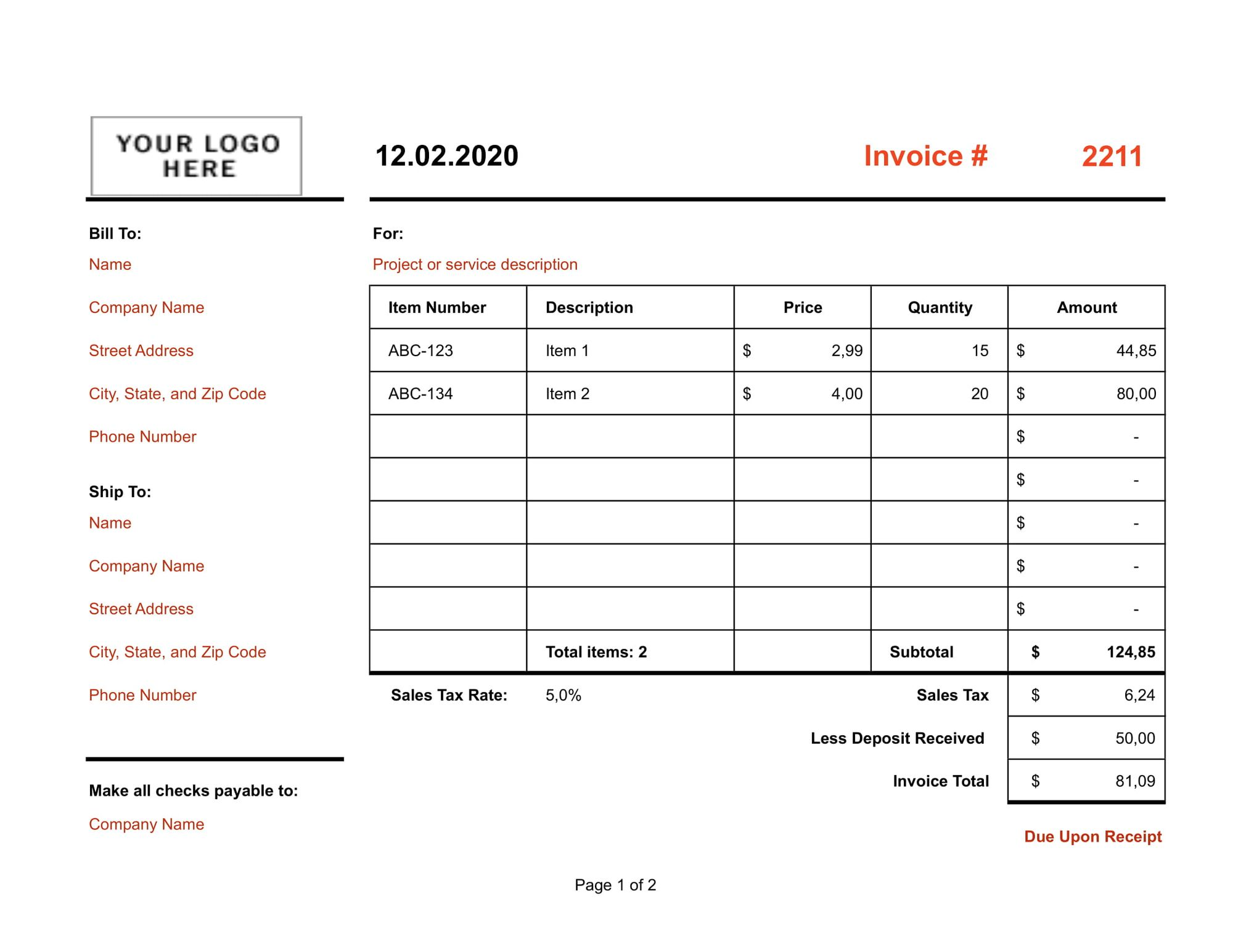 Simple Two-page Product Excel Template