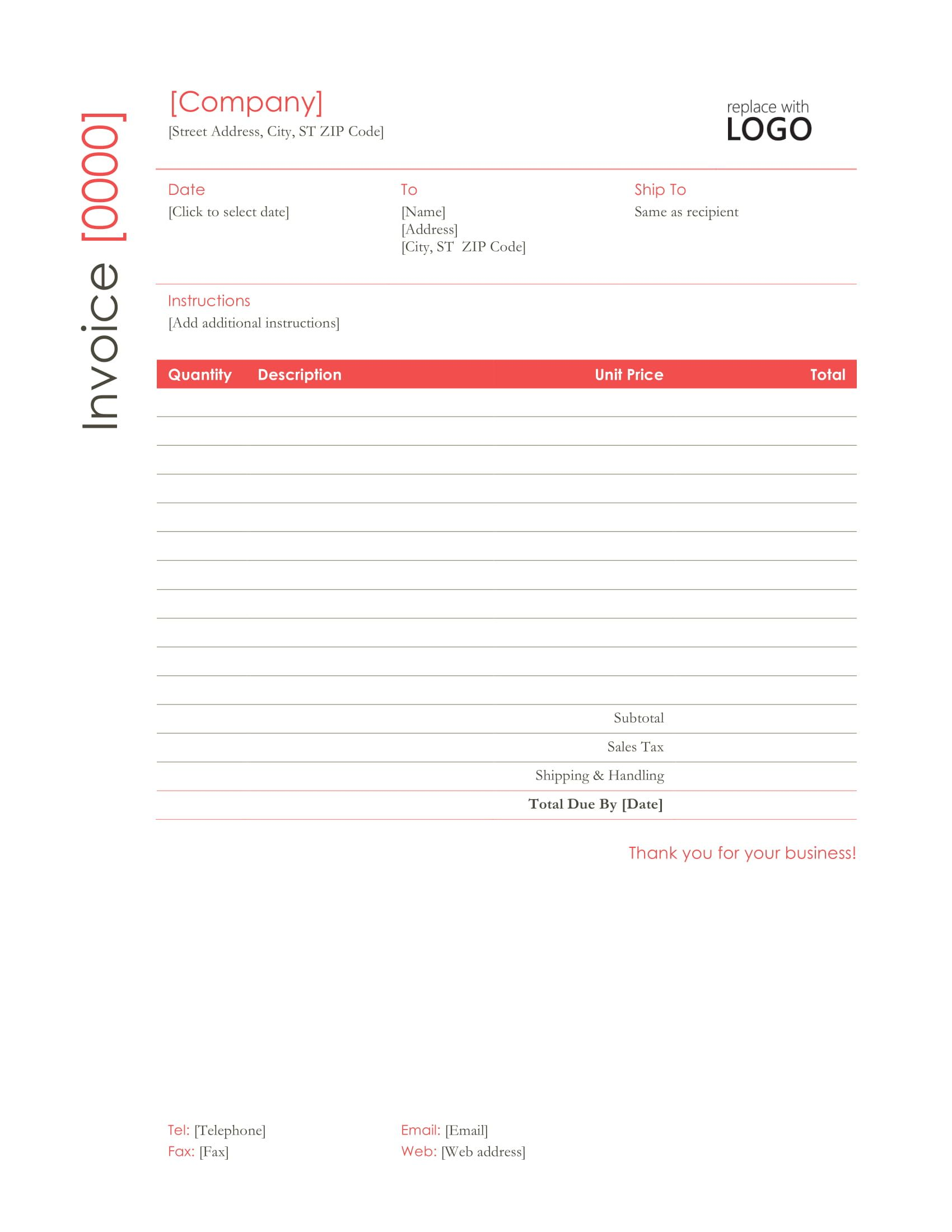 Red Professional Word Invoice Template