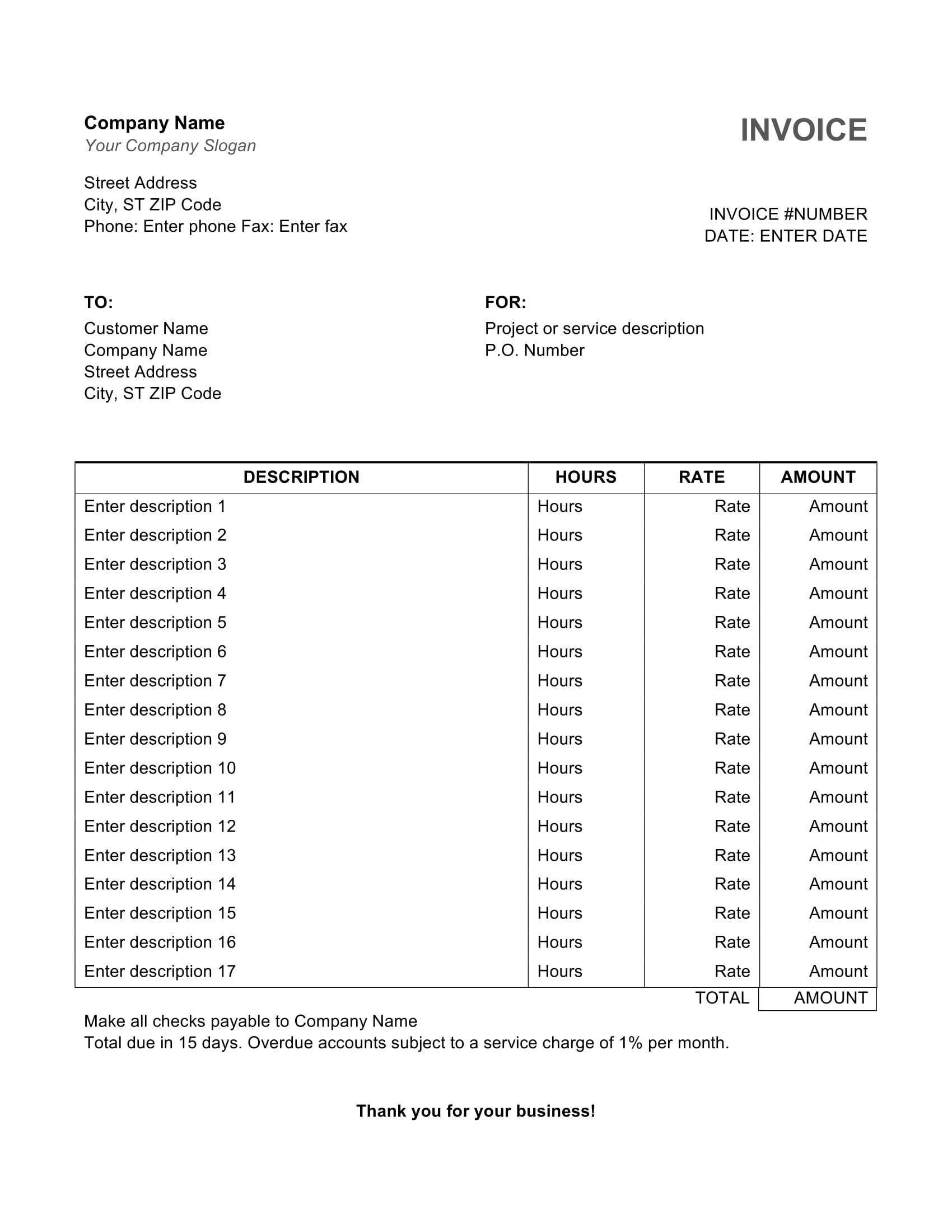 Simple Service Word Invoice Template