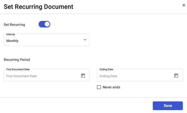 Recurring Invoice Type
