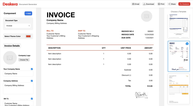 Deskera Invoice Generator
