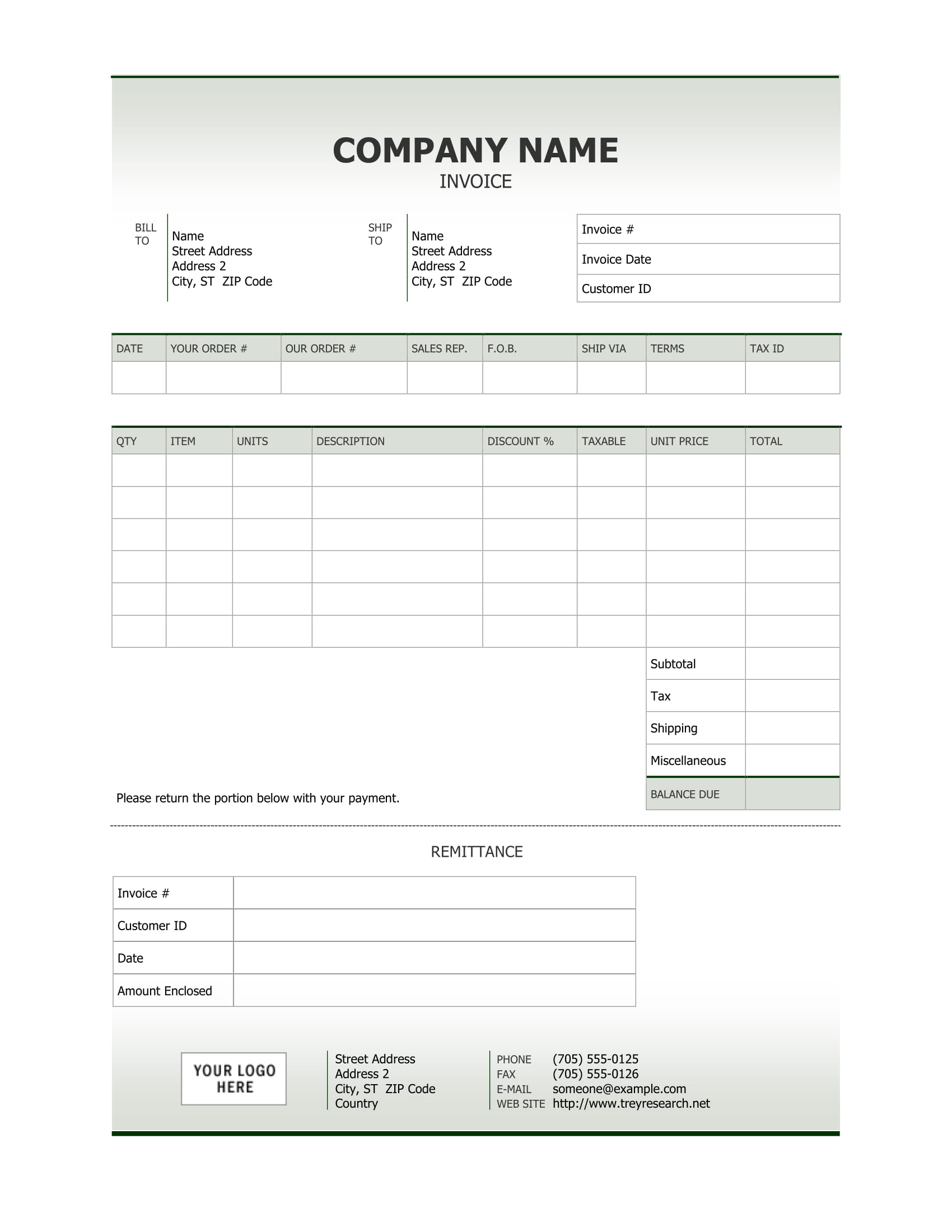 Clean Sales Word Invoice Template