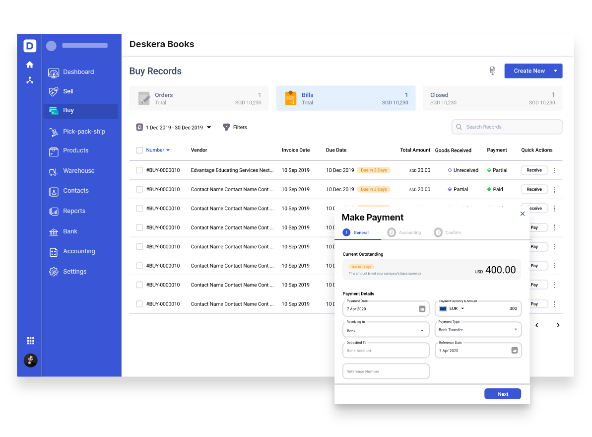 Invoice Payments with Deskera