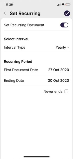 Set Recurring Invoices in Deskera Mobile App - Accrued Expense