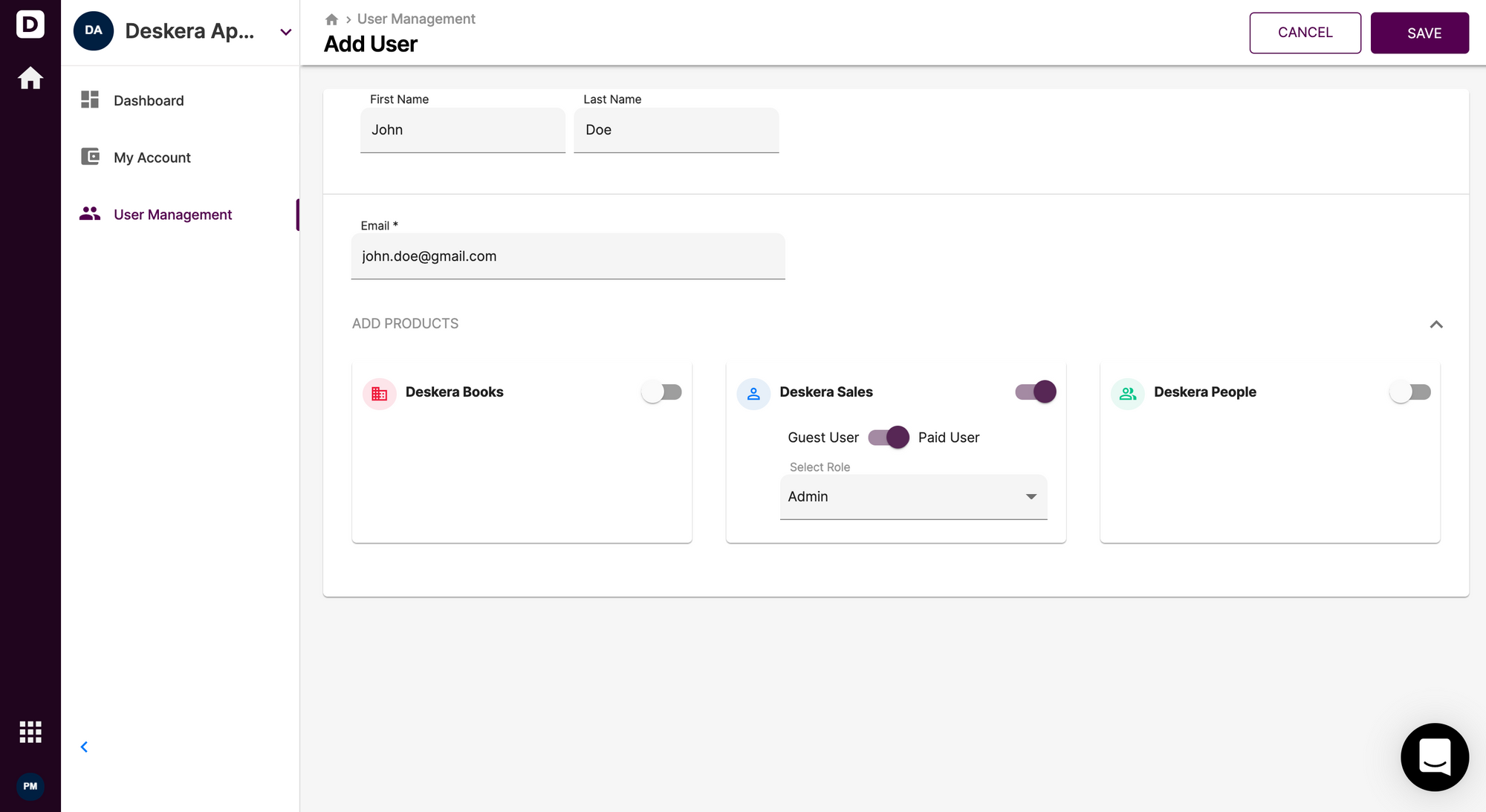 Adding users in Deskera Sales