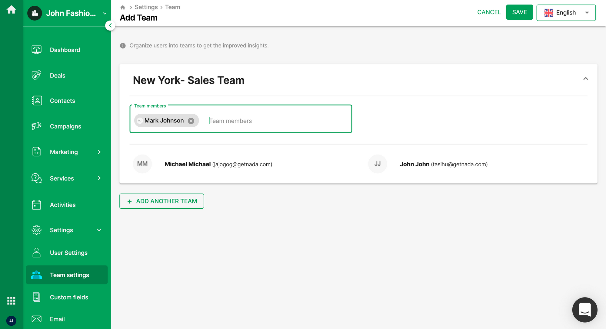Creating a new team in Deskera Sales