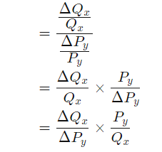 This formula depicts the sensitivity of demand for one good to the changes in the price of another one and shows cross price elasticity