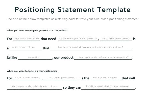 Brand Positioning Statement Template