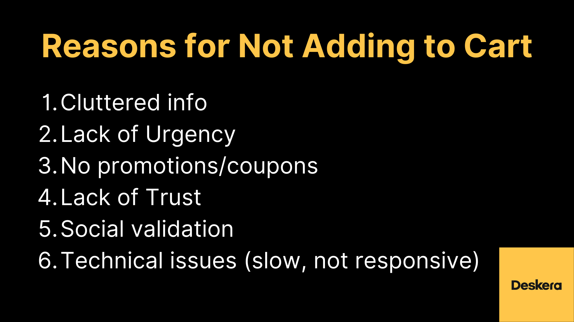 Reasons for Not Adding to Cart on eCommerce Business