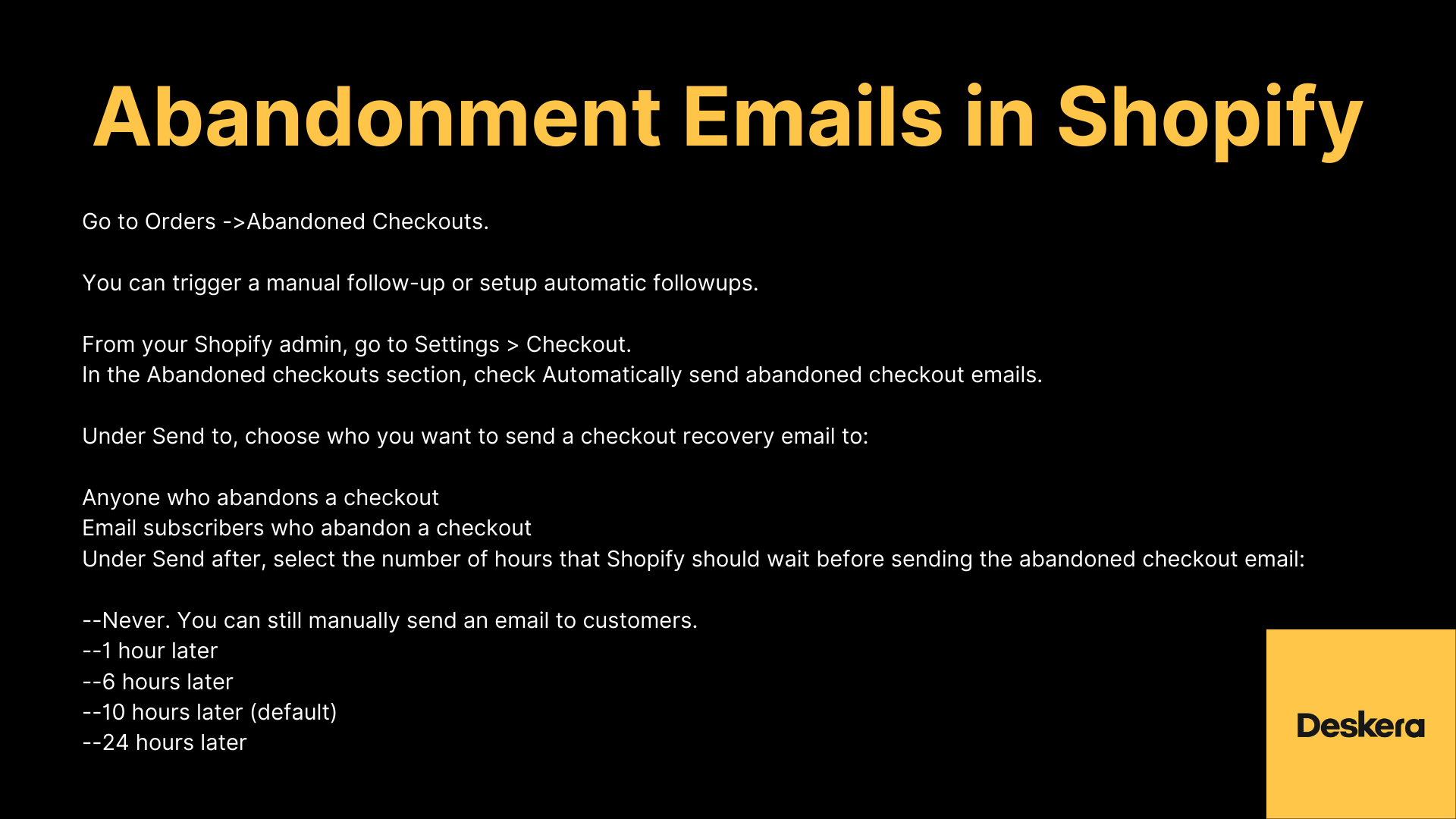 How to Set-up Cart Abandonment Emails in Shopify?