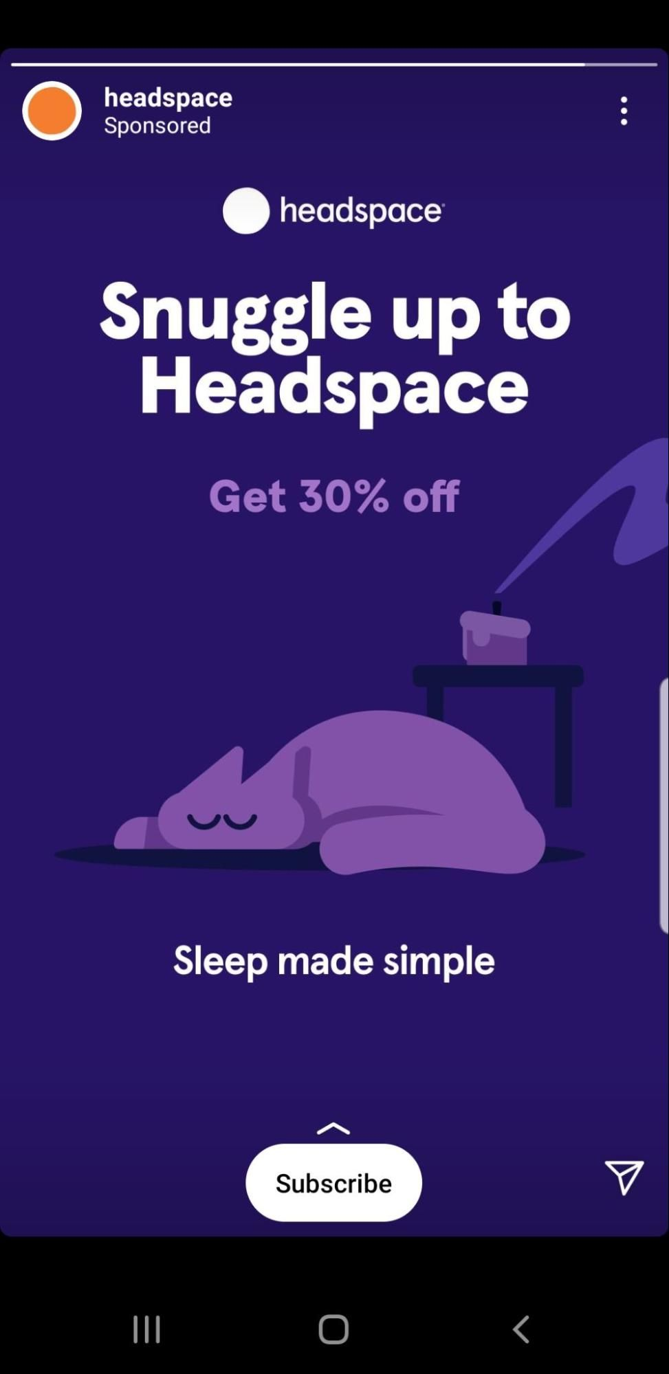 Headspace Instagram Ad CTA Example