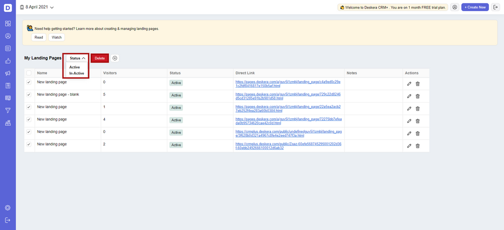 Deskera CRM+ and Landing Page List and Status