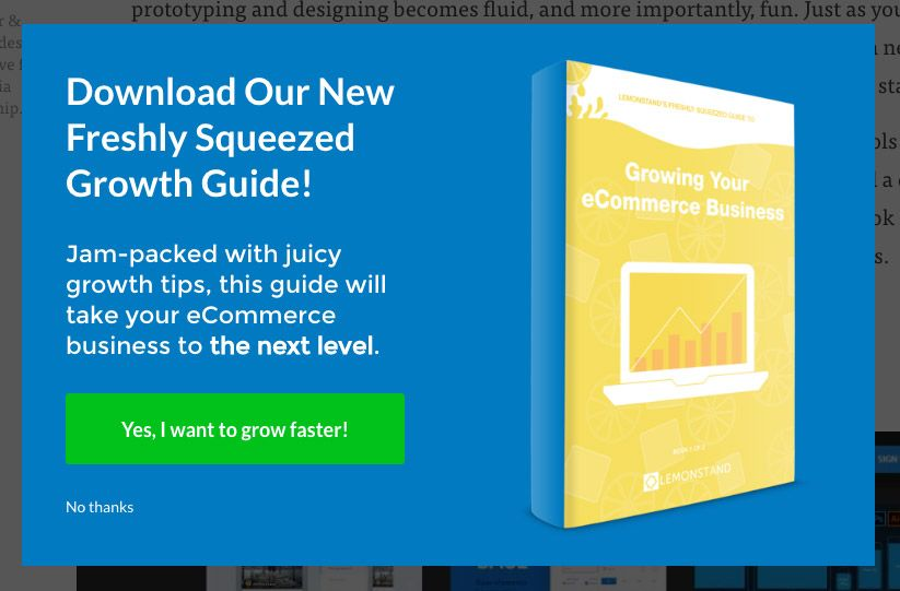 Lemonstand Content Upgrade CTA Example