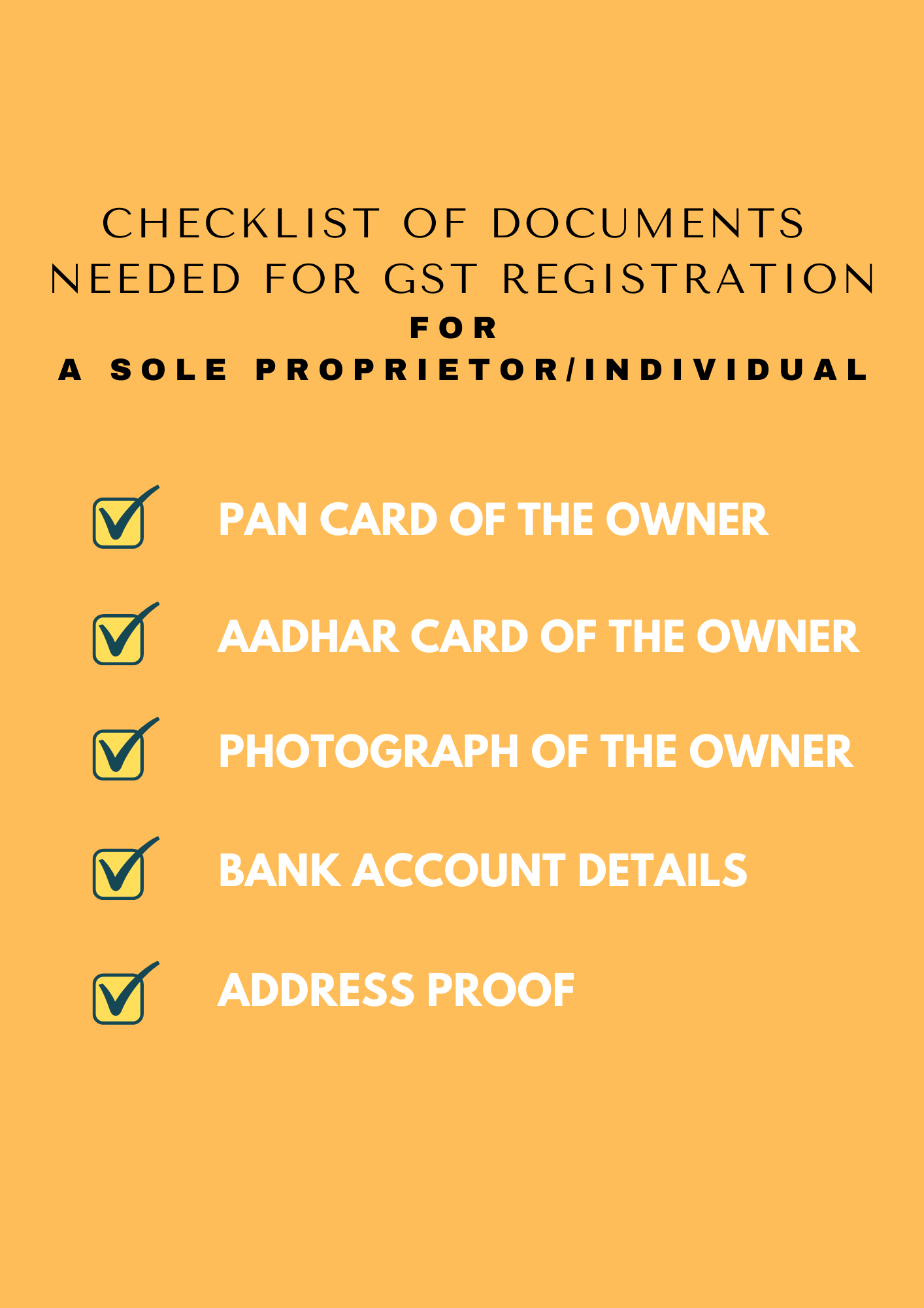 Documents Needed for GST Registration for sole proprietor/individual