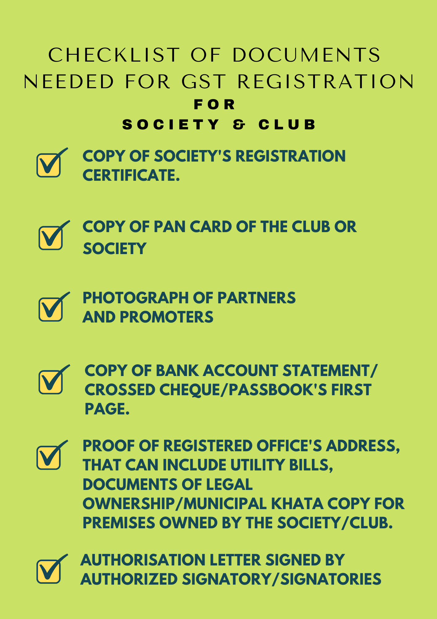 Documents needed for GST registration for Society & Club