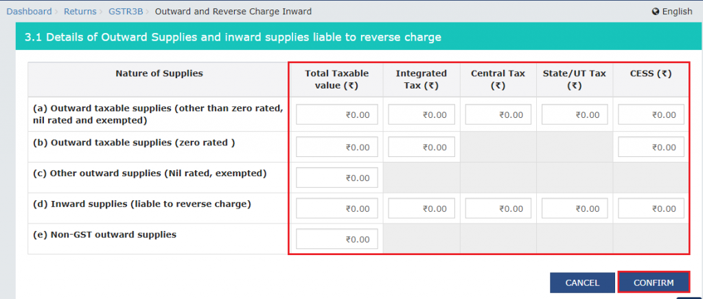Outward and Reverse Charge Inward in Form GSTR-3B