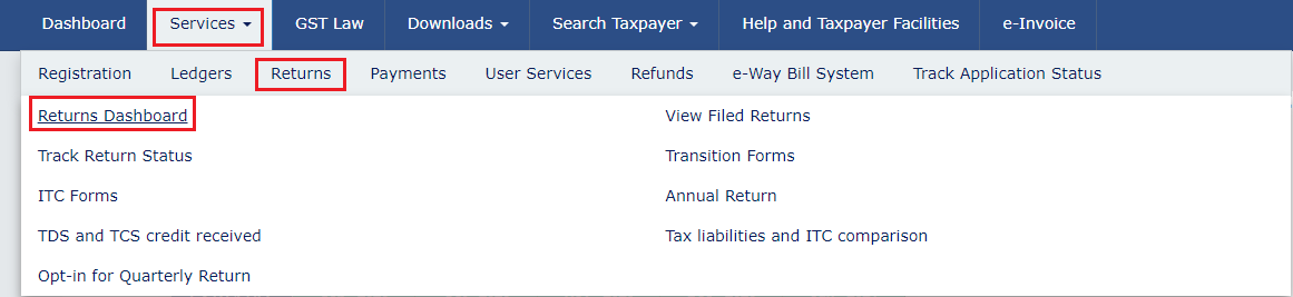 Accessing the returns dashboard to file GSTR-3B
