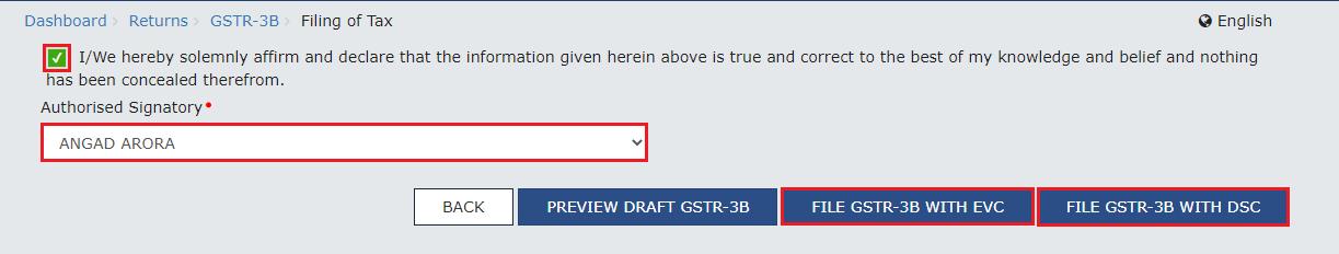 Authorized Signatory to File GSTR-3B