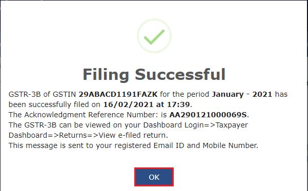 Successful filing of GSTR-3B