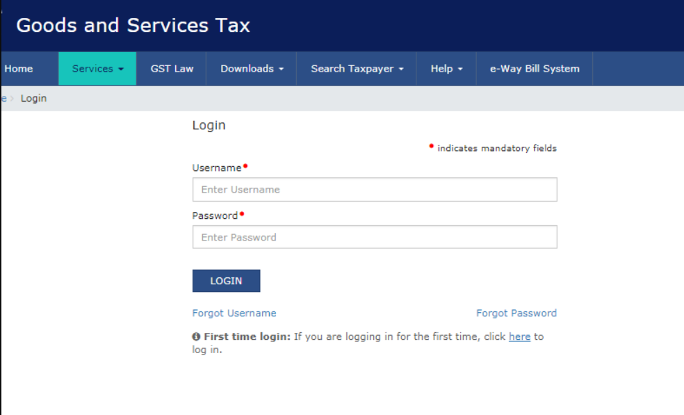 Step 2: Login into your account so as to file your GSTR 11