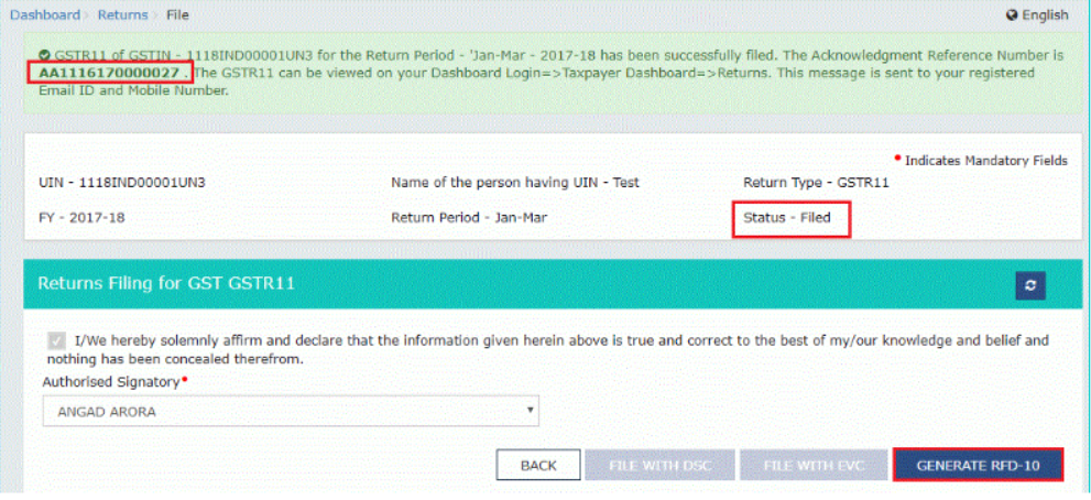 """Step 37: Status of GSTR 11 return changes to """"filed"""""""