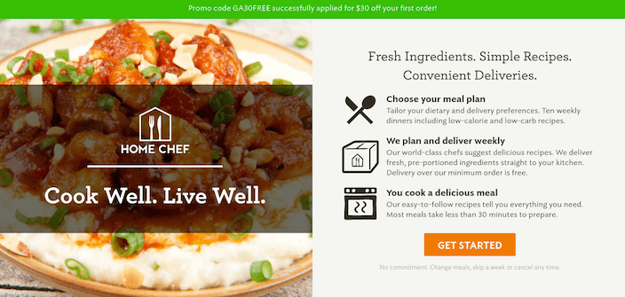 Click-Through Landing Page Example 10: Home Chef