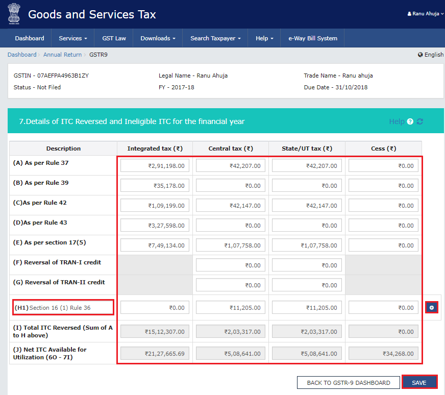 Adding more rows in the tile- Details of ITC reversed and ineligible ITC for the financial year in Form GSTR-9